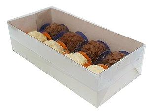 Embalagem branca para 8 doces (17x8x4,5) pacote c/ 20 unidades
