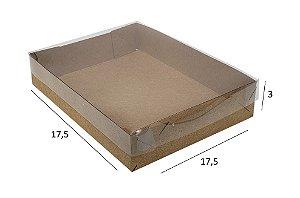 Embalagem kraft  com tampa de acetato 17,5x17,5x3  pacote c/20 unidades