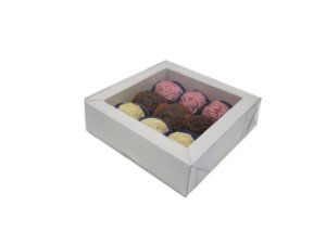 Embalagem montada branca para 9 doces (11x11x4) - pct c/10 unidades