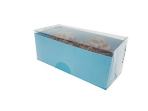 Embalagem azul para 2 doces - 8x4x3 - pacote c/100 unidades