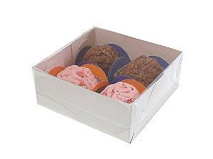 Embalagem branca para 4 doces (8,5X8,5X3,5) pacote c/ 100 unidades