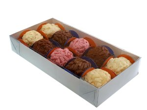 Embalagem branca p/ 10 doces (18x9x3) pacote c/ 100 unidades