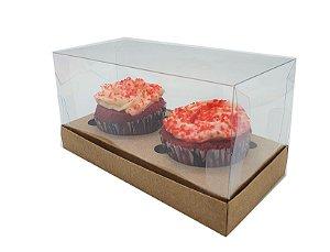 Embalagem Kraft para 2 cupcakes ( 17x8,5x8,5 )  pacote c/10 Unidades