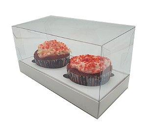 Embalagem Branca para 2 cupcakes ( 17x8,5x8,5 ) pacote c/10 Unidades