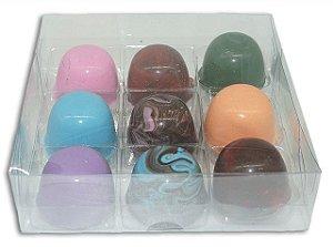 Embalagem acetato transparente 9 doces (13x13x4) - 20 Unidades