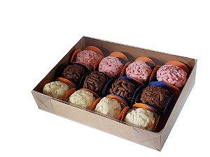 10 Caixas  Kraft para 12 doces (17x12,5x3) - pct c/10 Unid