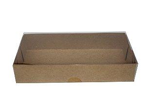 Embalagem Kraft  e tampa de acetato  15,5x8x3 - pacote c/20 Unidades