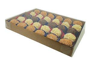 Embalagem kraft 30 doces com acetato 24x19x3 - c/20 unidades
