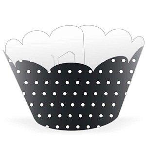 Saia / Wrapper Cupcake Tradicional - Preto poá - 5cm x 22cm x 12cm 12 unidades