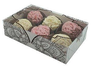 Embalagem branca para 6 doces tampa em arabesco  pacote c/ 100 unidades
