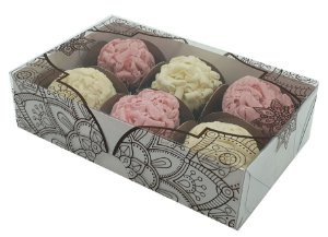 Embalagem branca para 6 doces tampa em arabesco  pacote c/ 10 unidades