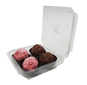 10 - Embalagens plásticas para 4 doces com berço fixo  - pacote c/10 unidades