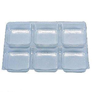 10 - Placas Berço de Acetato para Doces - 06 cavidades de 3,5cm x 3,5cm - Pacote c/ 10 unidades