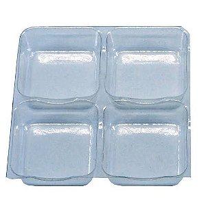 10 - Placas Berço de Acetato para Doces - 04 cavidades de 3,5cm x 3,5cm - Pacote c/ 10 unidades