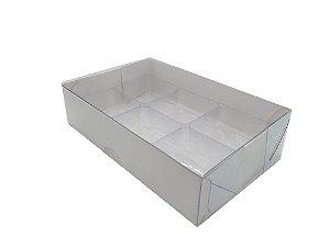 Embalagem Branca P/6 Doces com Berço e Tampa Transparente - pacote c/10 unidades