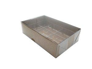 Embalagem Kraft P/6 Doces com Berço e Tampa Transparente - pacote c/10 unidades