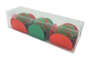 Embalagem para 3 doces - acetato transparente -pacote com 10 unidades