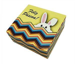 10 Embalagens Pascoa p/ 4 brigadeiros amarela com coelho