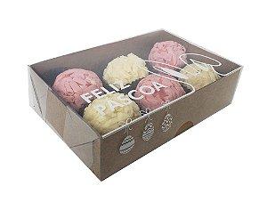 10- Caixas kraft para 6 doces tampa Feliz Páscoa pacote c/ 10 unidades