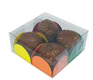 Embalagem para 4 doces - acetato transparente  ( 8 x 8 x 3) - 10 Und.