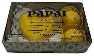 Caixa embalagem Kraft dia dos Pais para 6 brigadeiros ou doces - Papai Te Amo- 10 Uni