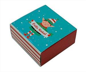 Embalagem Natal para 4 brigadeiros - modelo duende - pacote c/10 unidades