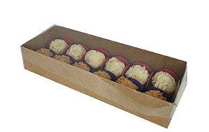 Embalagem para 12 doces (23,5x8,5x4,5) kraft c/ tampa de acetato pct c/10 unidades