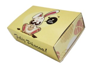10 Embalagens Pascoa p/ 6 brigadeiros coelho chocolate (12x8,5x3,5)