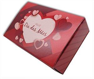 10 Embalagens Dia das Mães p/ 6 brigadeiros - Coração Vermelho (12x8,3x3,5)