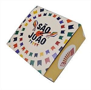 10 Embalagens p/ 4 brigadeiros São João - bandeirinha (8,5x8,5x3,5)