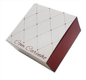 10 Embalagens para 4 brigadeiros - Com Carinho Vermelha (8,5x8,5x3,5)