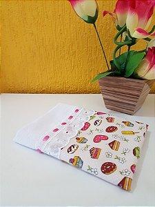 Pano de Prato Artesanal 100% Algodão - Estampa Cupcake