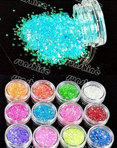 Glitter para unhas quadrado - 12 cores