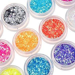 Glitter para unhas hexagonal pequeno - 12 cores