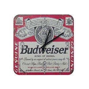 Relógio De Parede Em Madeira Cerveja Budweiser.