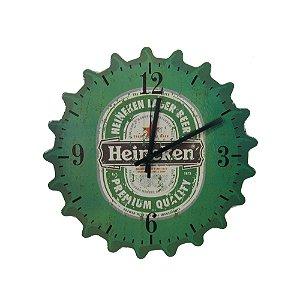 Relógio De Parede Em Madeira Cerveja Heineken.