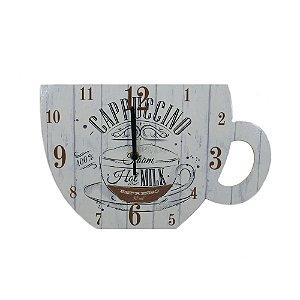 Relógio De Parede em madeira Cappuccino Xícara De Café.