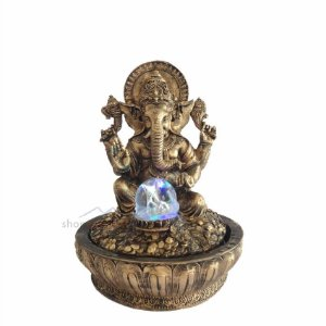 Fonte De Água Decorativa Ganesha dourada Com Led Colorido
