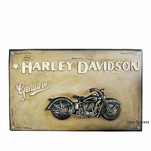 Placa Harley Davidson Vintage com Detalhes em alto relevo.