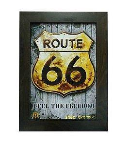 Quadro Route 66 emblema Em Alto Relevo Estilo 3D