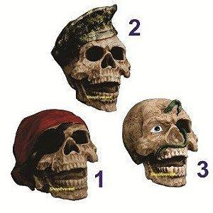 Crânio Em Resina - Pirata - Soldado - Cobra - Halloween