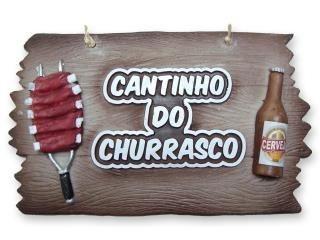 Placa Cantinho Do Churrasco em alto relevo.