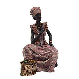 Africana Sentada Com Cesta De Frutas - Estatueta , Escultura