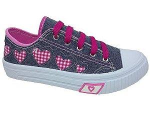Tênis Infantil Espelho Meu 853DA - Jeans/Pink
