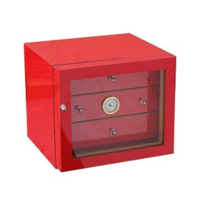 Umidor para 90 charutos c/03 gavetas - Vermelho