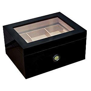 Umidor Black Piano com Higrômetro Digital p/ 75 a 120 charutos - Tampa com Vidro