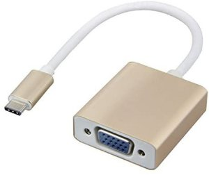 Adaptador USB C Macho VGA Femea com Audio