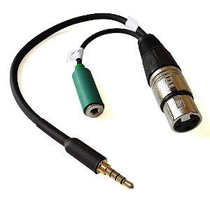 Cabo Microfone XLR P3 (P2 4 vias) com fêmea P2