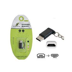 Adaptador chaveiro Lightning macho x micro USB femea