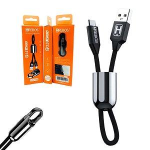 Cabo Chaveiro USB 2.0 x Micro USB retrátil